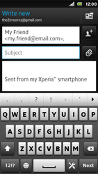 Sony ST25i Xperia U - E-mail - Sending emails - Step 7