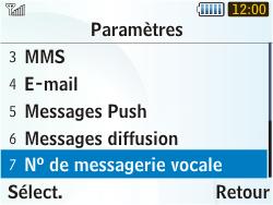 Samsung S3350 Chat 335 - Messagerie vocale - configuration manuelle - Étape 8
