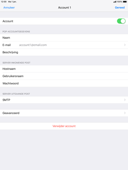Apple ipad-mini-3-ios-12 - E-mail - Account instellen (POP3 zonder SMTP-verificatie) - Stap 21