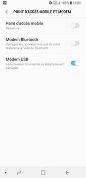 Samsung Galaxy A8 - Internet et connexion - Utiliser le mode modem par USB - Étape 9