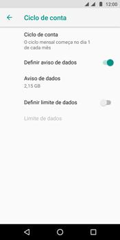Motorola Moto E5 - Rede móvel - Como definir um aviso e limite de uso de dados - Etapa 7