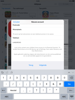 Apple iPad 3 iOS 9 - Applicaties - Account aanmaken - Stap 22