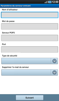 Samsung P1000 Galaxy Tab - E-mail - Configuration manuelle - Étape 7