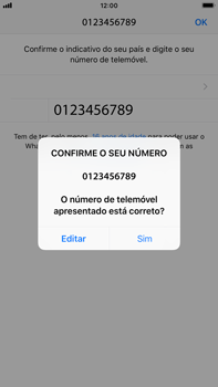 Apple iPhone 6s Plus - iOS 12 - Aplicações - Como configurar o WhatsApp -  10