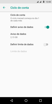 Motorola Moto E5 - Rede móvel - Como definir um aviso e limite de uso de dados - Etapa 9