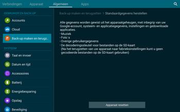 Samsung Galaxy Tab S 10.5 4G (SM-T805) - Instellingen aanpassen - Fabrieksinstellingen terugzetten - Stap 7