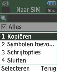 Samsung E1270 - Contacten en data - Contacten kopiëren van toestel naar SIM - Stap 8