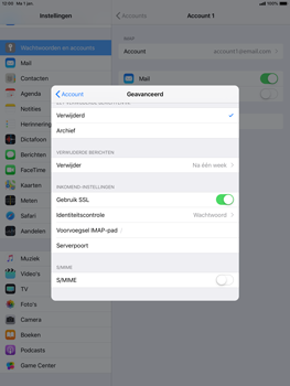 Apple ipad-pro-10-5-inch-ios-12 - E-mail - Account instellen (IMAP met SMTP-verificatie) - Stap 24