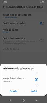 Samsung Galaxy A50 - Rede móvel - Como definir um aviso e limite de uso de dados - Etapa 8