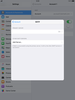 Apple iPad Air 2 - iOS 11 - E-mail - Manual configuration - Step 20