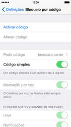 Apple iPhone 5s iOS 8 - Segurança - Como ativar o código de bloqueio do ecrã -  4