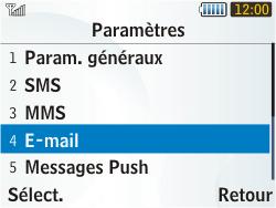 Samsung S3350 Chat 335 - E-mail - Configuration manuelle - Étape 5