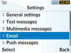 Samsung S3350 Chat 335 - E-mail - Manual configuration - Step 5