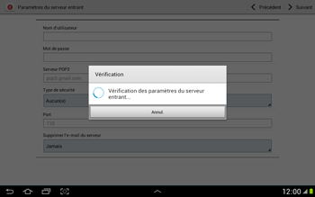 Samsung N8000 Galaxy Note 10-1 - E-mail - Configuration manuelle - Étape 10