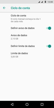 Motorola Moto E5 - Rede móvel - Como definir um aviso e limite de uso de dados - Etapa 15