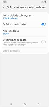 Samsung Galaxy A50 - Rede móvel - Como definir um aviso e limite de uso de dados - Etapa 9