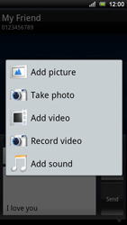 Sony Ericsson Xperia Ray - Mms - Sending a picture message - Step 10