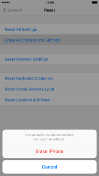 Apple Apple iPhone 6 Plus iOS 10 - Device - Reset to factory settings - Step 7