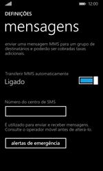 Microsoft Lumia 435 - SMS - Como configurar o centro de mensagens -  8