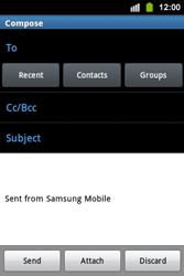 Samsung S5830i Galaxy Ace i - Email - Sending an email message - Step 5
