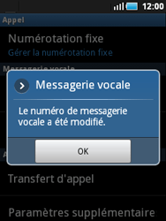 Samsung S5570 Galaxy Mini - Messagerie vocale - Configuration manuelle - Étape 7