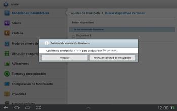 Samsung P7500 Galaxy Tab 10-1 - Bluetooth - Conectar dispositivos a través de Bluetooth - Paso 10
