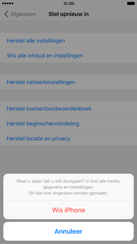 Apple iPhone 6 Plus met iOS 9 (Model A1524) - Instellingen aanpassen - Fabrieksinstellingen terugzetten - Stap 7
