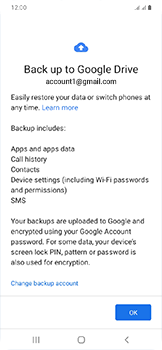 Samsung Galaxy A20e - Data - Create a backup with your account - Step 10