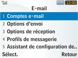 Samsung S3350 Chat 335 - E-mail - Configurer l