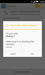 Alcatel Pop S3 (OT-5050X) - Bluetooth - Pair with another device - Step 7