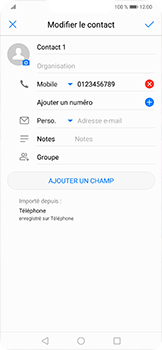 Huawei Mate 20 lite - Contact, Appels, SMS/MMS - Ajouter un contact - Étape 8