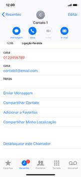 Apple iPhone iOS 12 - Chamadas - Como bloquear chamadas de um número específico - Etapa 7