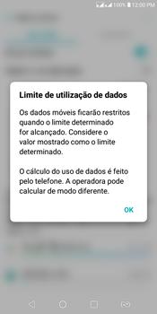 LG K12+ - Rede móvel - Como definir um aviso e limite de uso de dados - Etapa 9