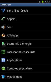 Samsung N7000 Galaxy Note - Wifi - configuration manuelle - Étape 3