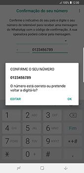 Samsung Galaxy Note 8 - Android Oreo - Aplicações - Como configurar o WhatsApp -  10