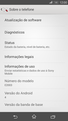 Sony Xperia E4G - Primeiros passos - Como encontrar o número de IMEI do seu aparelho - Etapa 5