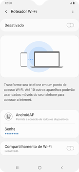 Samsung Galaxy A20 - Wi-Fi - Como usar seu aparelho como um roteador de rede wi-fi - Etapa 11