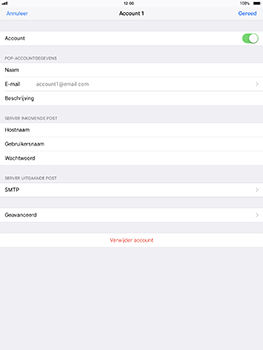 Apple iPad Pro 10.5 inch - iOS 11 - E-mail - Account instellen (POP3 zonder SMTP-verificatie) - Stap 16