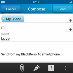 BlackBerry Q10 - Email - Sending an email message - Step 10