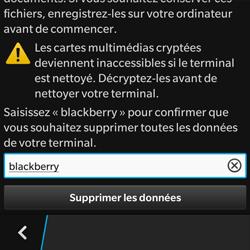 BlackBerry Q10 - Aller plus loin - Restaurer les paramètres d'usines - Étape 7