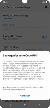 Samsung Galaxy A50 - Sécurité - activéz le code PIN de l'appareil - Étape 12
