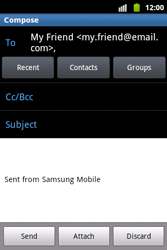 Samsung S5690 Galaxy Xcover - Email - Sending an email message - Step 7