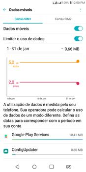 LG K12+ - Rede móvel - Como definir um aviso e limite de uso de dados - Etapa 10