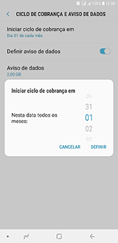 Samsung Galaxy J8 - Rede móvel - Como definir um aviso e limite de uso de dados - Etapa 8