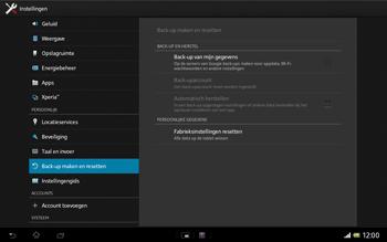 Sony SGP321 Xperia Tablet Z LTE - Instellingen aanpassen - Fabrieksinstellingen terugzetten - Stap 5