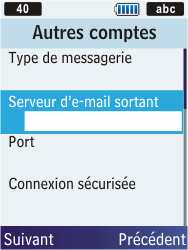 Samsung S5610 Primo - E-mail - Configurer l