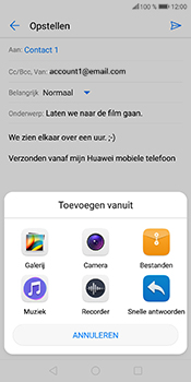 Huawei P Smart (Model FIG-LX1) - E-mail - Bericht met attachment versturen - Stap 12
