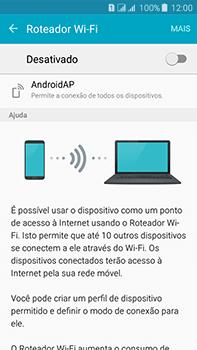 Samsung Galaxy J7 - Wi-Fi - Como usar seu aparelho como um roteador de rede wi-fi - Etapa 6