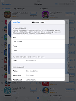 Apple ipad-mini-retina-met-ios-10-model-a1490 - Applicaties - Account aanmaken - Stap 17