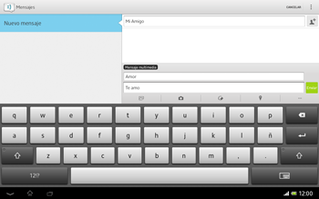 Sony Xperia Tablet Z - Mensajería - Escribir y enviar un mensaje multimedia - Paso 13